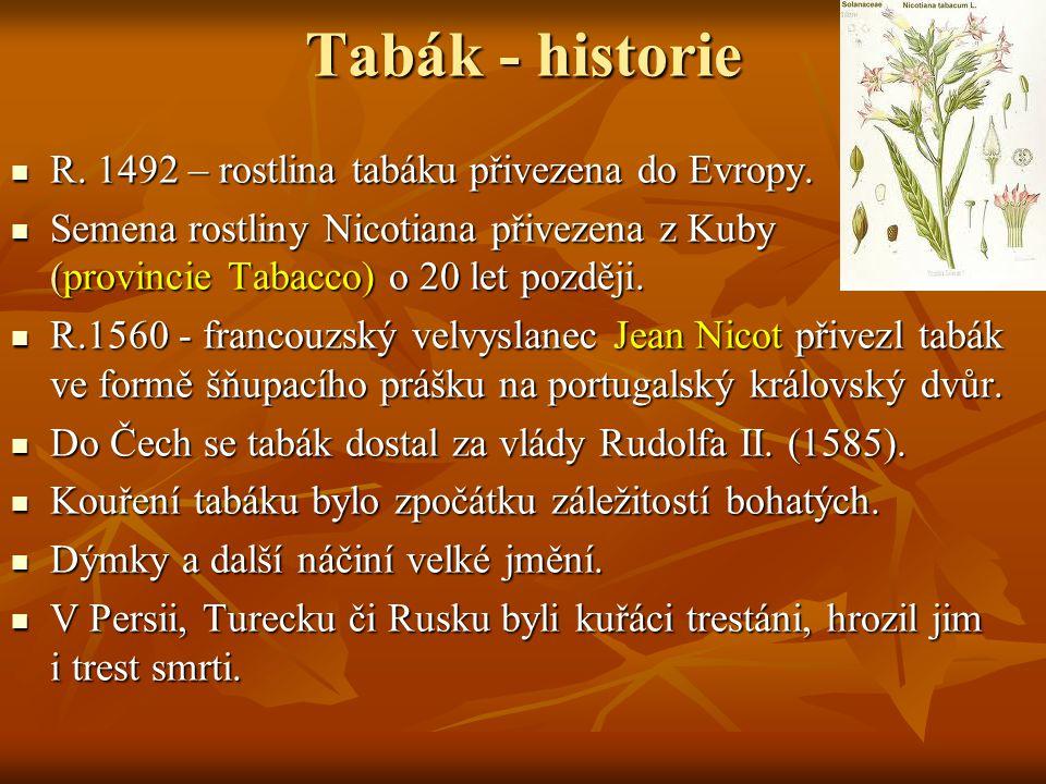 Tabák - historie R. 1492 – rostlina tabáku přivezena do Evropy.