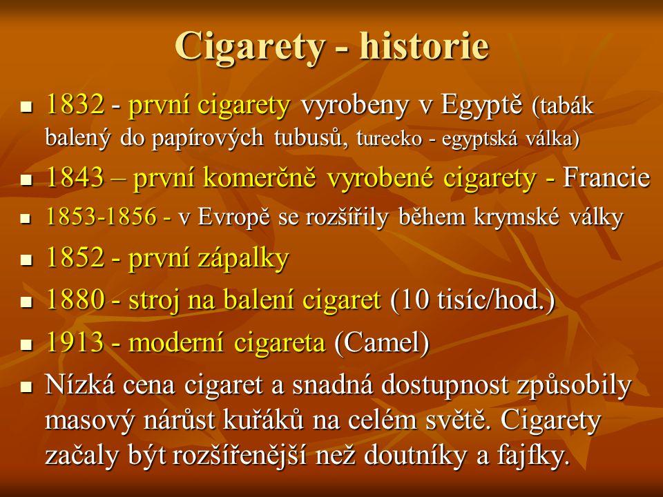 Cigarety - historie 1832 - první cigarety vyrobeny v Egyptě (tabák balený do papírových tubusů, turecko - egyptská válka)