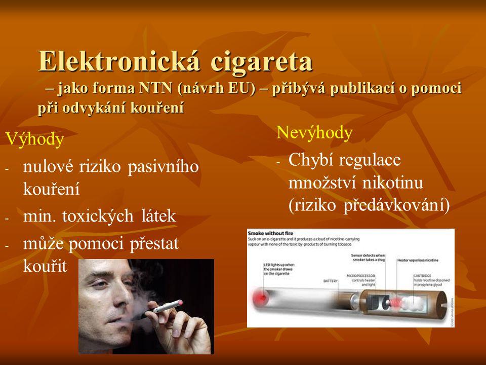 Elektronická cigareta – jako forma NTN (návrh EU) – přibývá publikací o pomoci při odvykání kouření