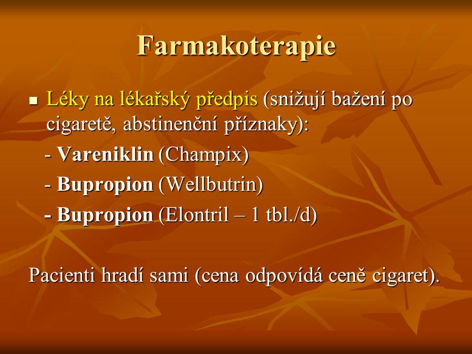 Farmakoterapie Léky na lékařský předpis (snižují bažení po cigaretě, abstinenční příznaky): - Vareniklin (Champix)