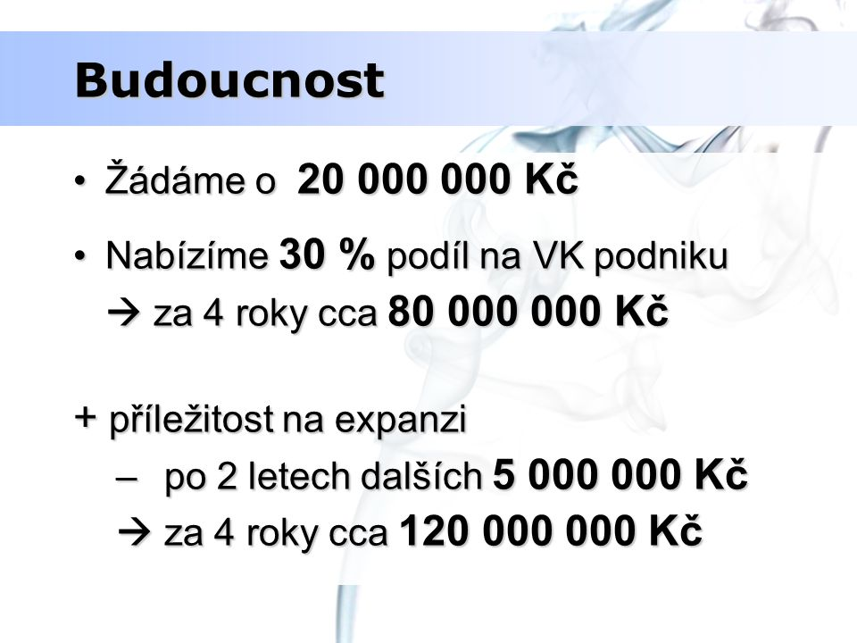 Budoucnost + příležitost na expanzi Žádáme o 20 000 000 Kč