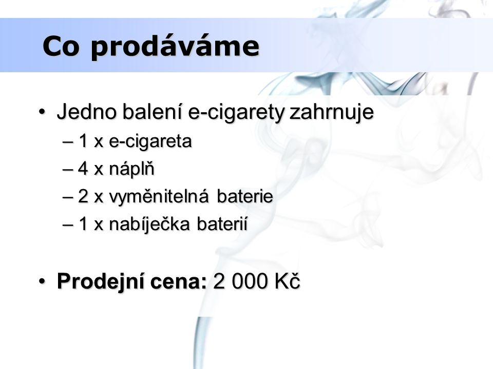 Co prodáváme Jedno balení e-cigarety zahrnuje Prodejní cena: 2 000 Kč