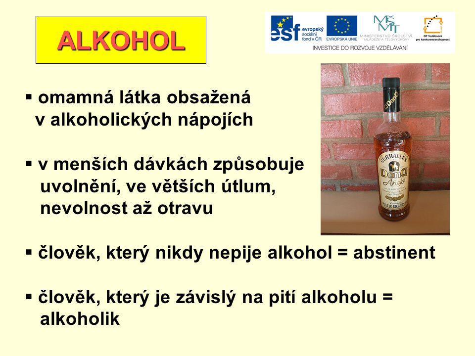 ALKOHOL omamná látka obsažená v alkoholických nápojích