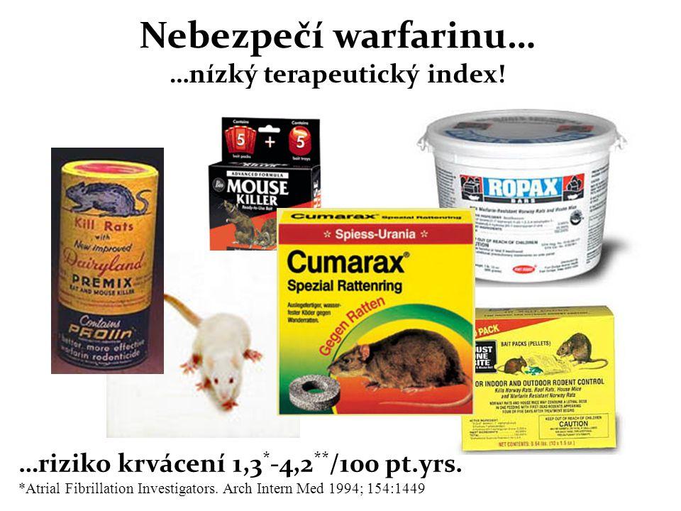 Nebezpečí warfarinu… …nízký terapeutický index!