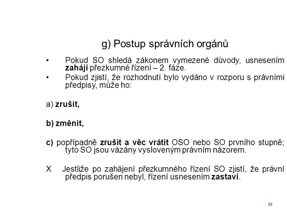 g) Postup správních orgánů