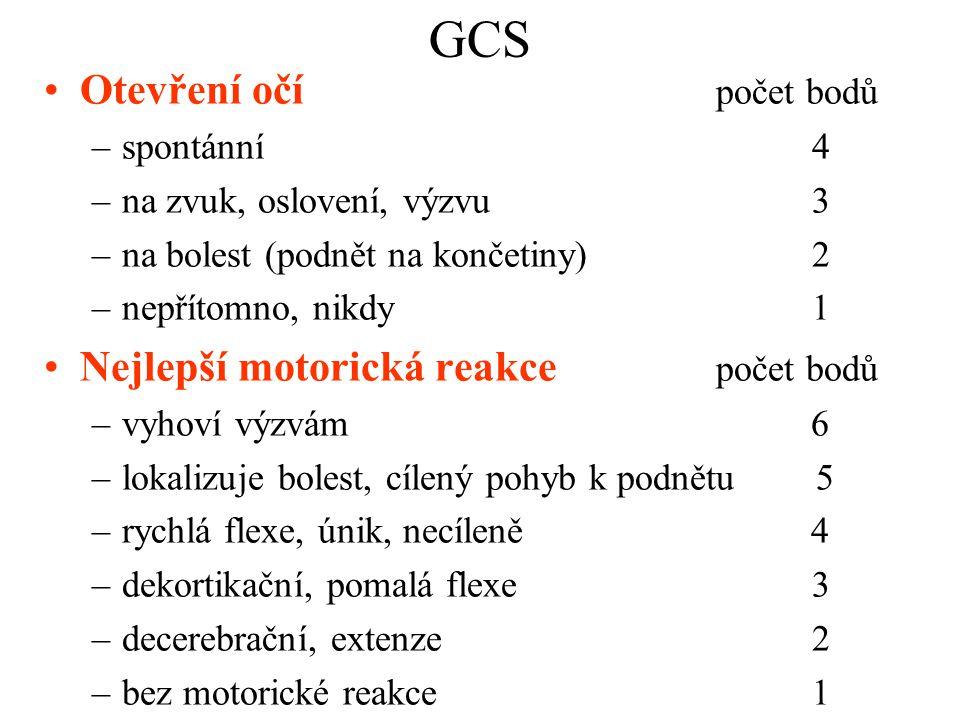 GCS Otevření očí počet bodů Nejlepší motorická reakce počet bodů