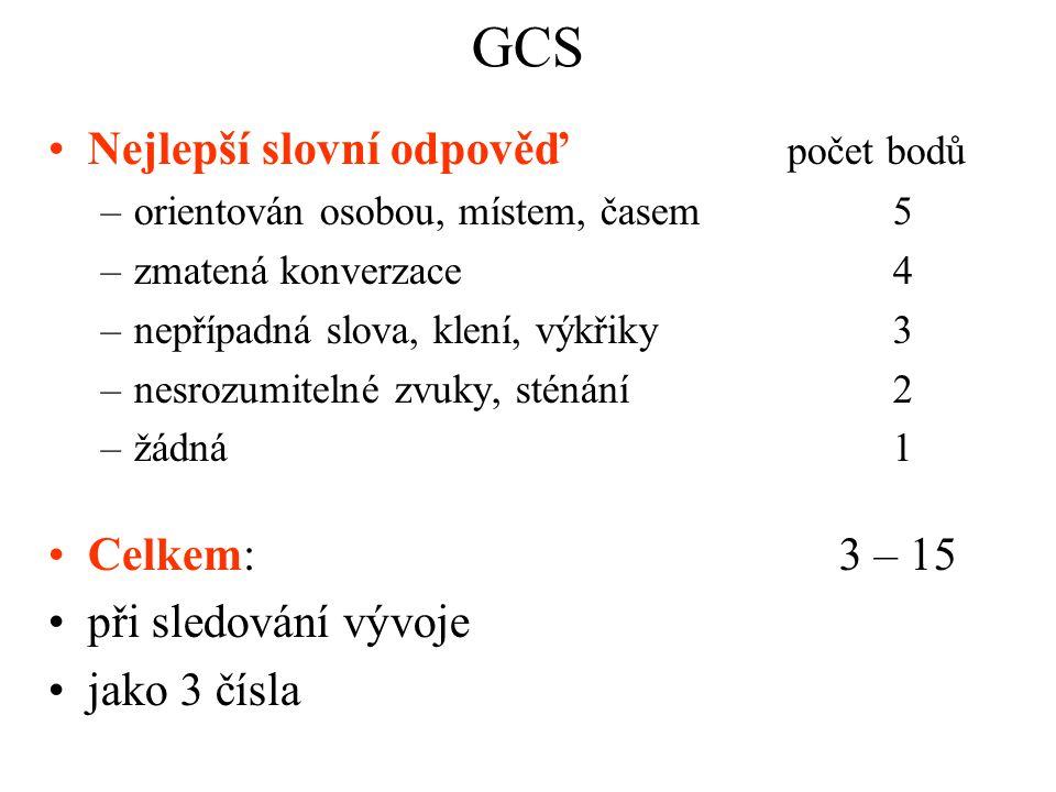 GCS Nejlepší slovní odpověď počet bodů Celkem: 3 – 15