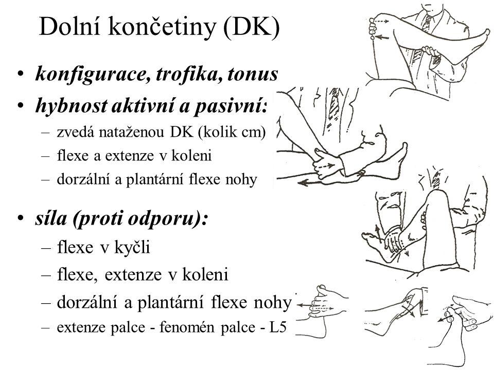 Dolní končetiny (DK) konfigurace, trofika, tonus