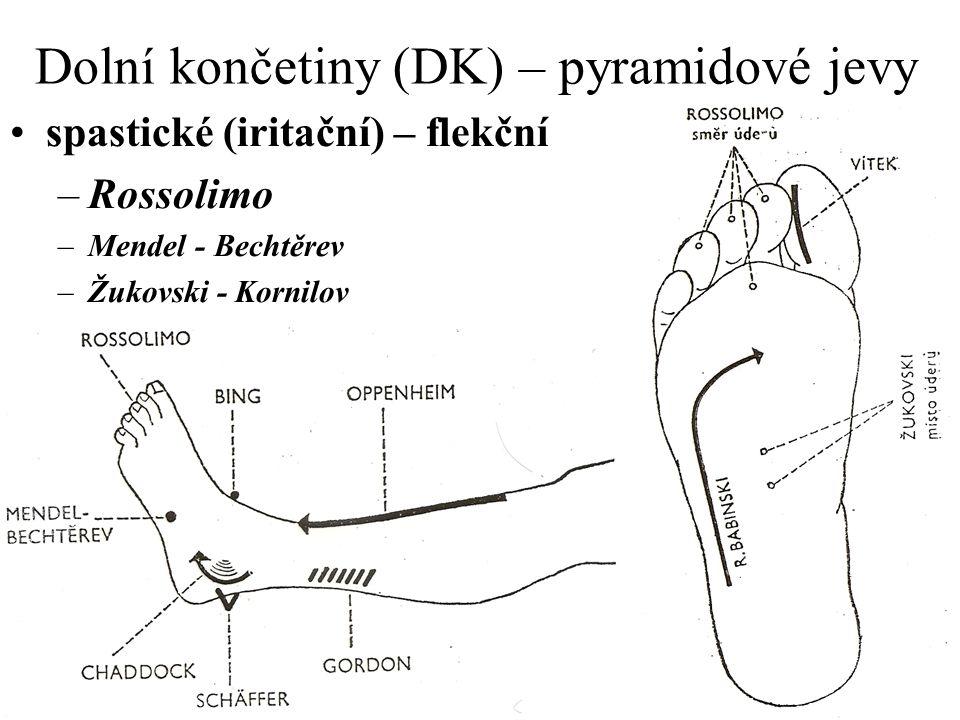Dolní končetiny (DK) – pyramidové jevy