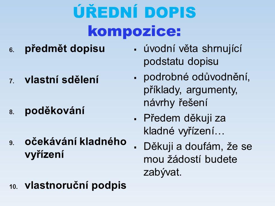 ÚŘEDNÍ DOPIS kompozice: