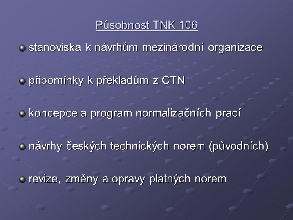 Působnost TNK 106 stanoviska k návrhům mezinárodní organizace. připomínky k překladům z CTN. koncepce a program normalizačních prací.