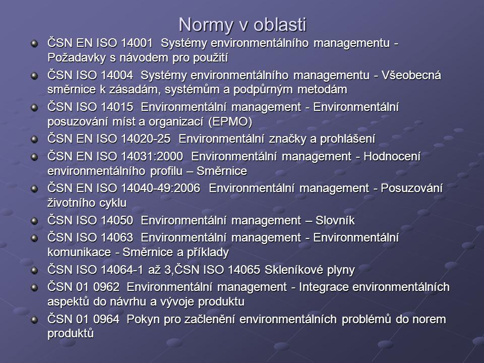 Normy v oblasti ČSN EN ISO 14001 Systémy environmentálního managementu - Požadavky s návodem pro použití.