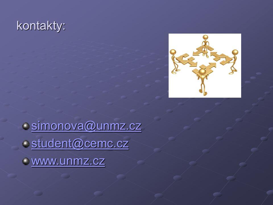 kontakty: simonova@unmz.cz student@cemc.cz www.unmz.cz