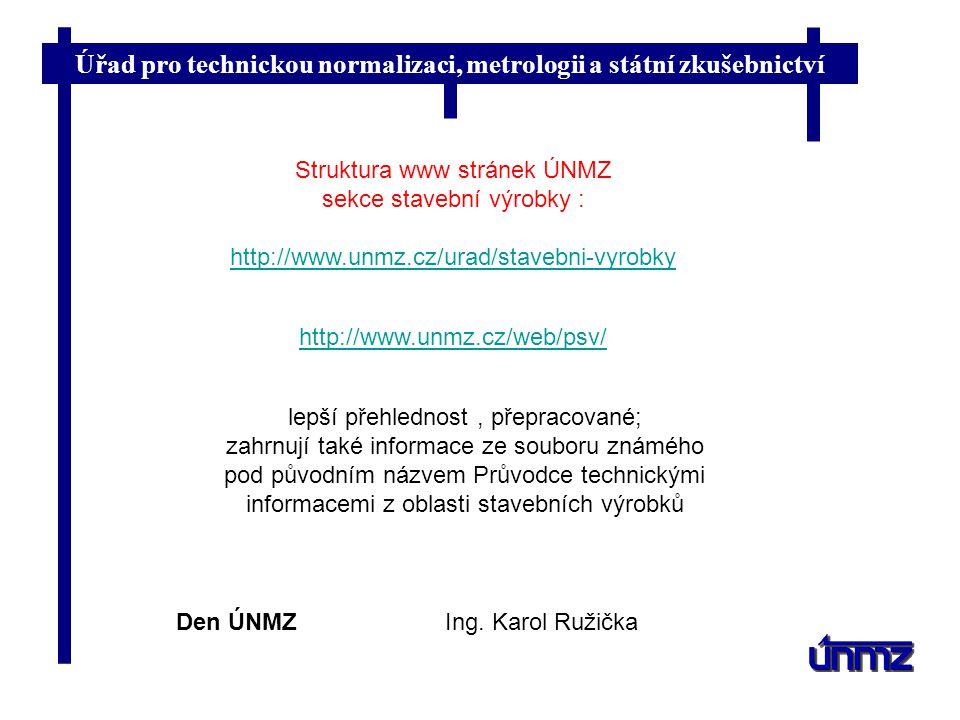 Struktura www stránek ÚNMZ sekce stavební výrobky :