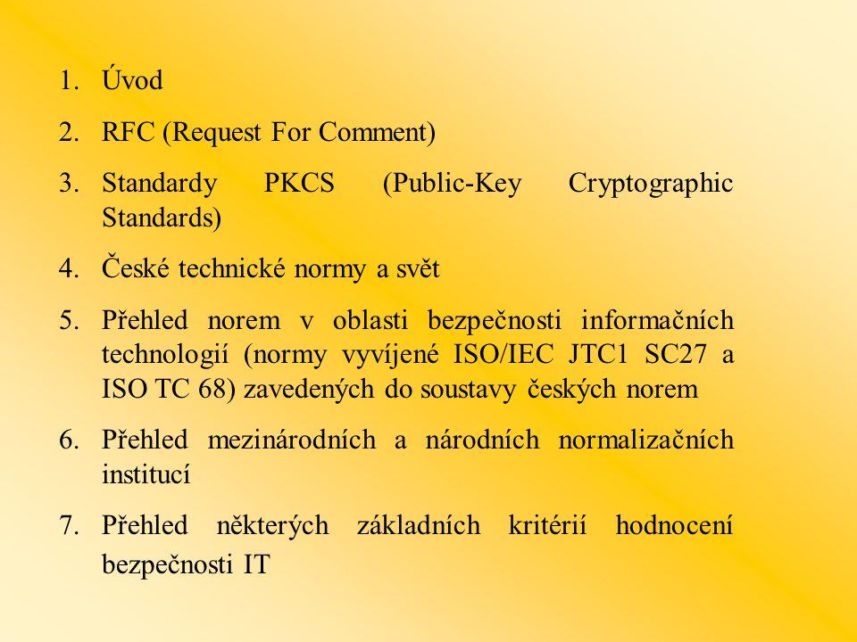 Úvod RFC (Request For Comment) Standardy PKCS (Public-Key Cryptographic Standards) České technické normy a svět.