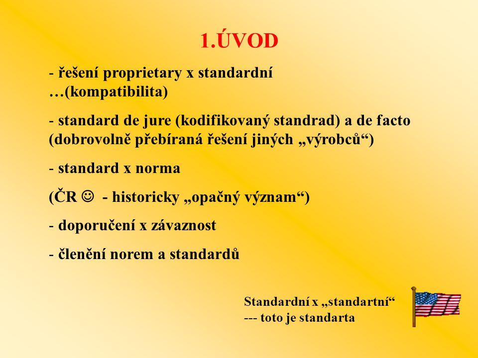 1.ÚVOD řešení proprietary x standardní …(kompatibilita)