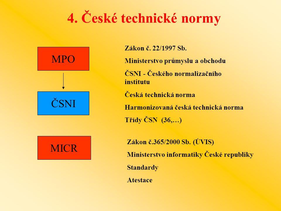 4. České technické normy MPO ČSNI MICR Zákon č. 22/1997 Sb.
