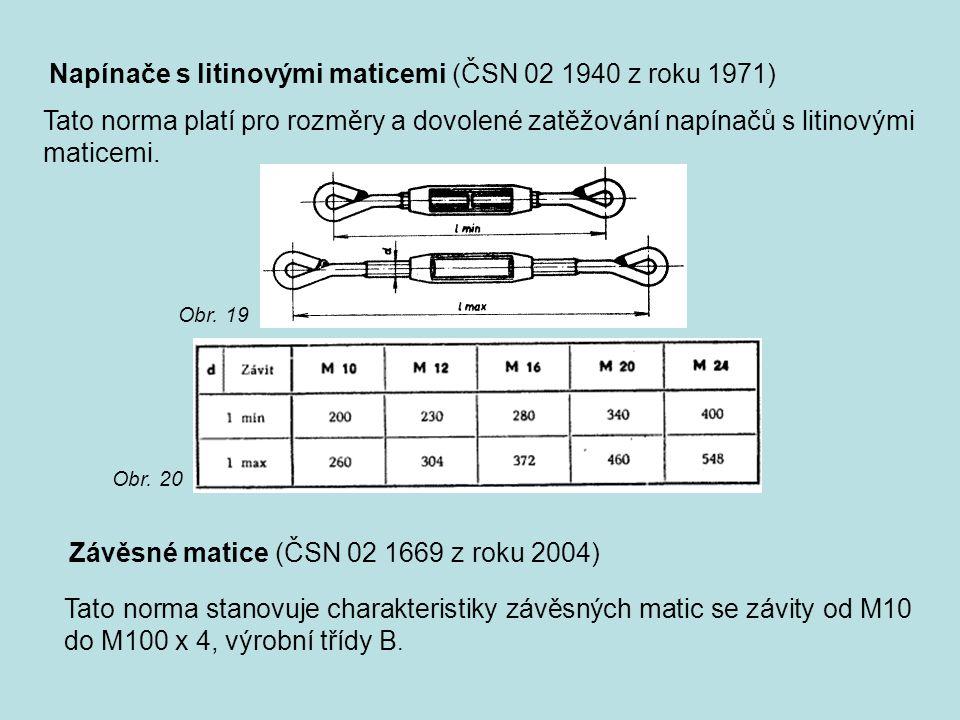 Napínače s litinovými maticemi (ČSN 02 1940 z roku 1971)