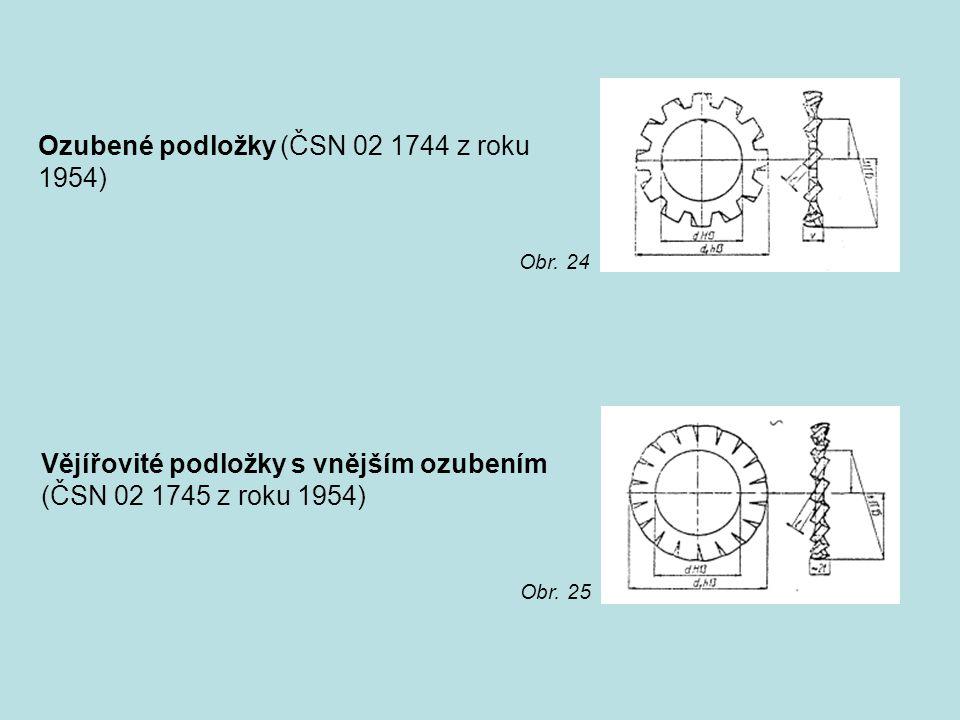 Ozubené podložky (ČSN 02 1744 z roku 1954)