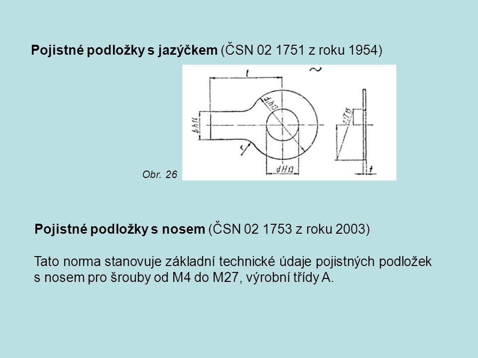 Pojistné podložky s jazýčkem (ČSN 02 1751 z roku 1954)