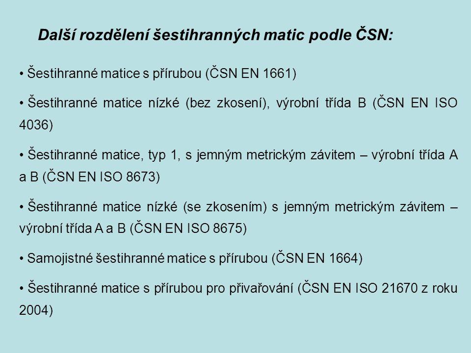 Další rozdělení šestihranných matic podle ČSN: