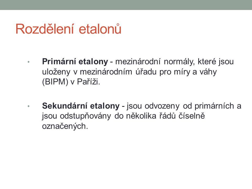 Rozdělení etalonů Primární etalony - mezinárodní normály, které jsou uloženy v mezinárodním úřadu pro míry a váhy (BIPM) v Paříži.