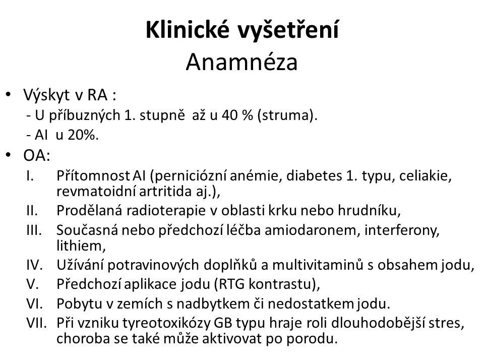 Klinické vyšetření Anamnéza