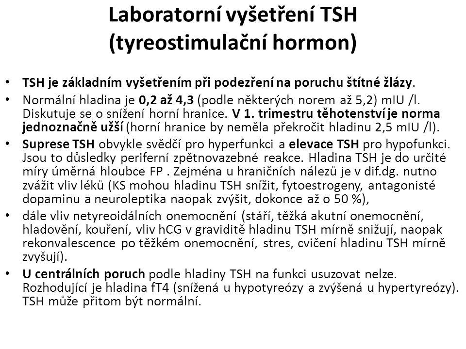 Laboratorní vyšetření TSH (tyreostimulační hormon)