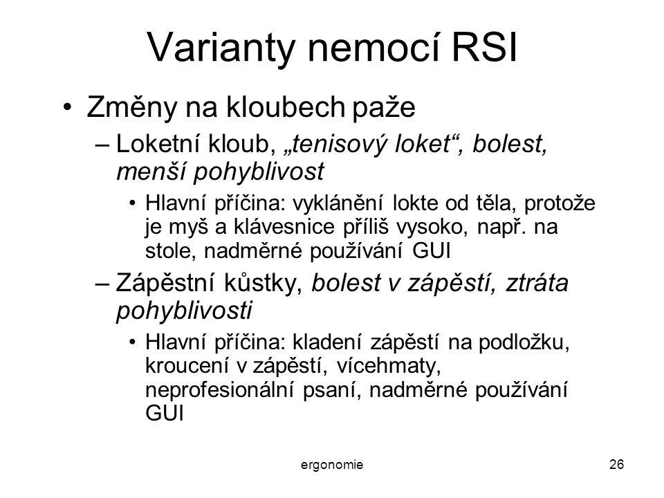 Varianty nemocí RSI Změny na kloubech paže