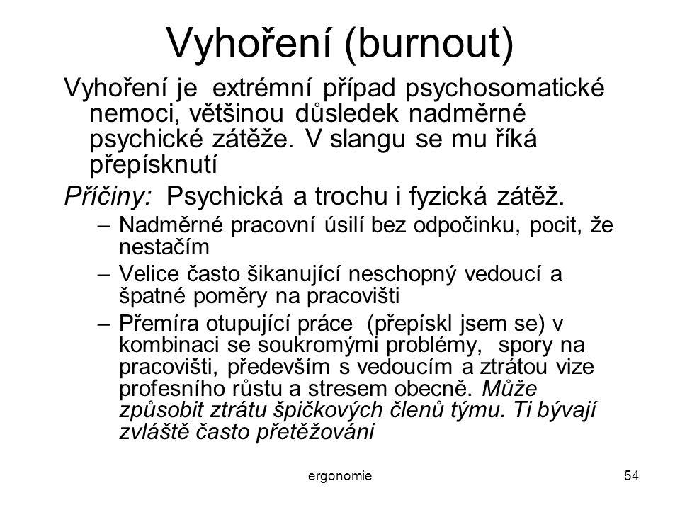 Vyhoření (burnout) Vyhoření je extrémní případ psychosomatické nemoci, většinou důsledek nadměrné psychické zátěže. V slangu se mu říká přepísknutí.