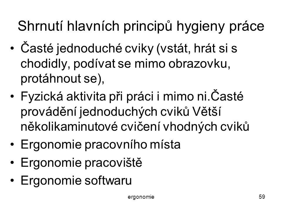 Shrnutí hlavních principů hygieny práce