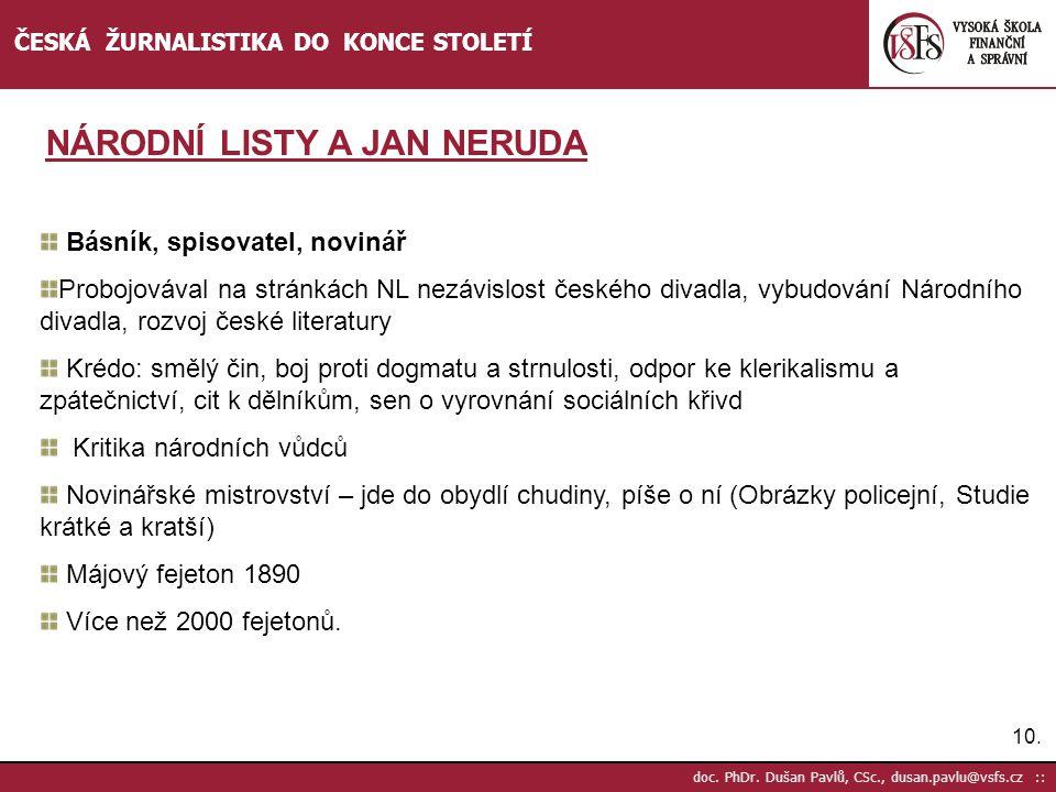 NÁRODNÍ LISTY A JAN NERUDA