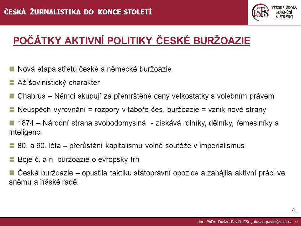 POČÁTKY AKTIVNÍ POLITIKY ČESKÉ BURŽOAZIE