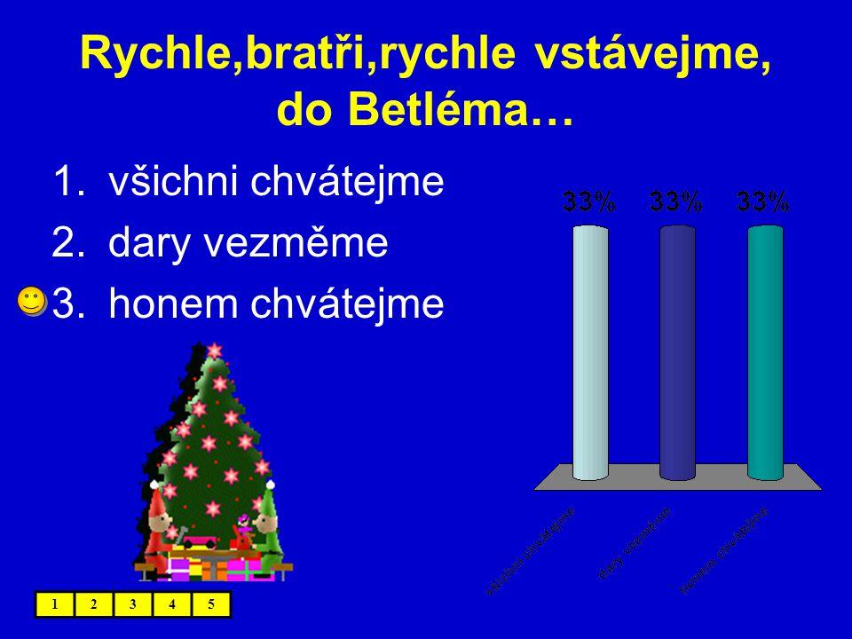 Rychle,bratři,rychle vstávejme, do Betléma…