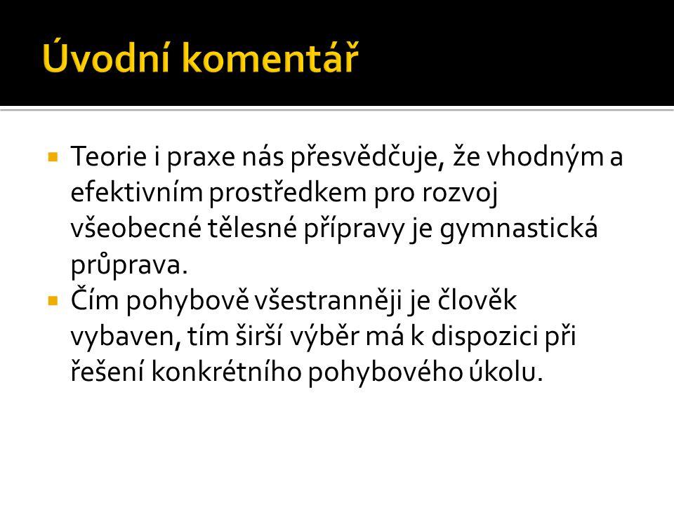 Úvodní komentář Teorie i praxe nás přesvědčuje, že vhodným a efektivním prostředkem pro rozvoj všeobecné tělesné přípravy je gymnastická průprava.