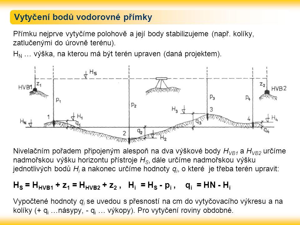 Vytyčení bodů vodorovné přímky