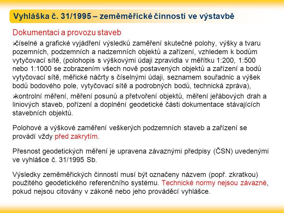 Vyhláška č. 31/1995 – zeměměřické činnosti ve výstavbě