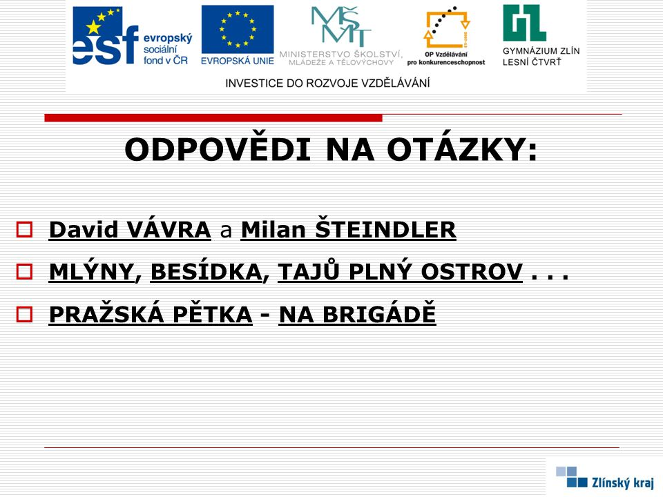 ODPOVĚDI NA OTÁZKY: David VÁVRA a Milan ŠTEINDLER