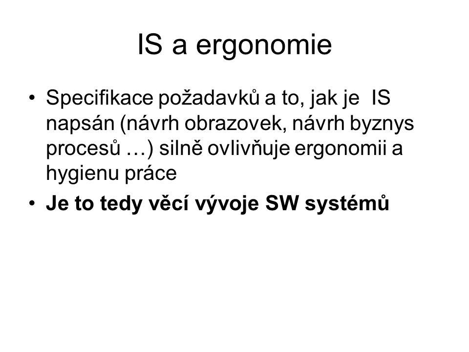 IS a ergonomie Specifikace požadavků a to, jak je IS napsán (návrh obrazovek, návrh byznys procesů …) silně ovlivňuje ergonomii a hygienu práce.