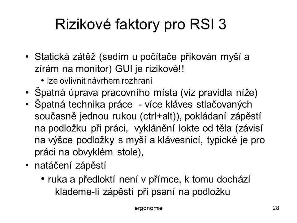 Rizikové faktory pro RSI 3
