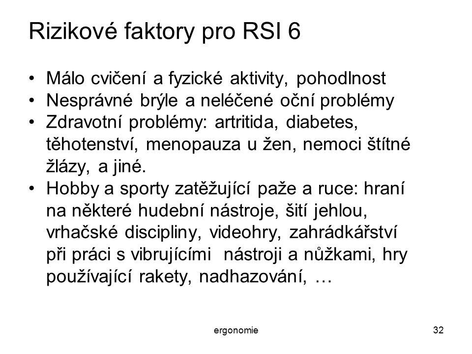 Rizikové faktory pro RSI 6