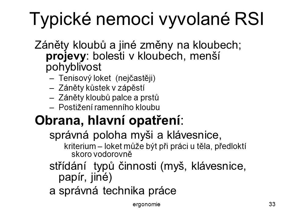 Typické nemoci vyvolané RSI