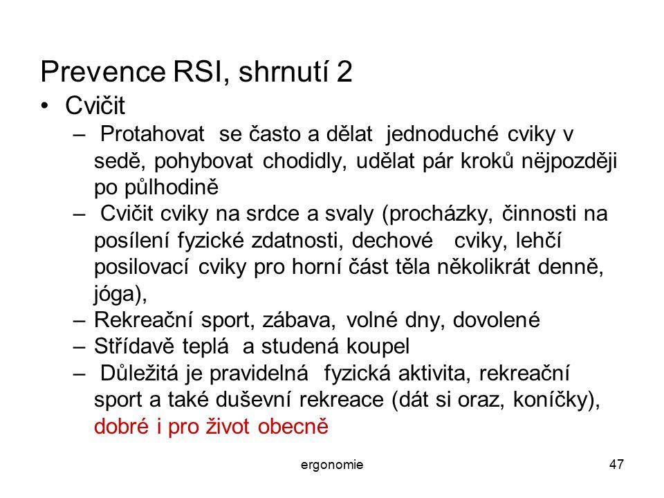 Prevence RSI, shrnutí 2 Cvičit
