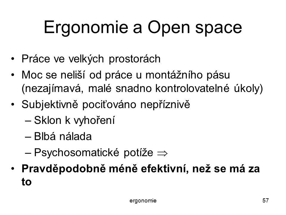 Ergonomie a Open space Práce ve velkých prostorách