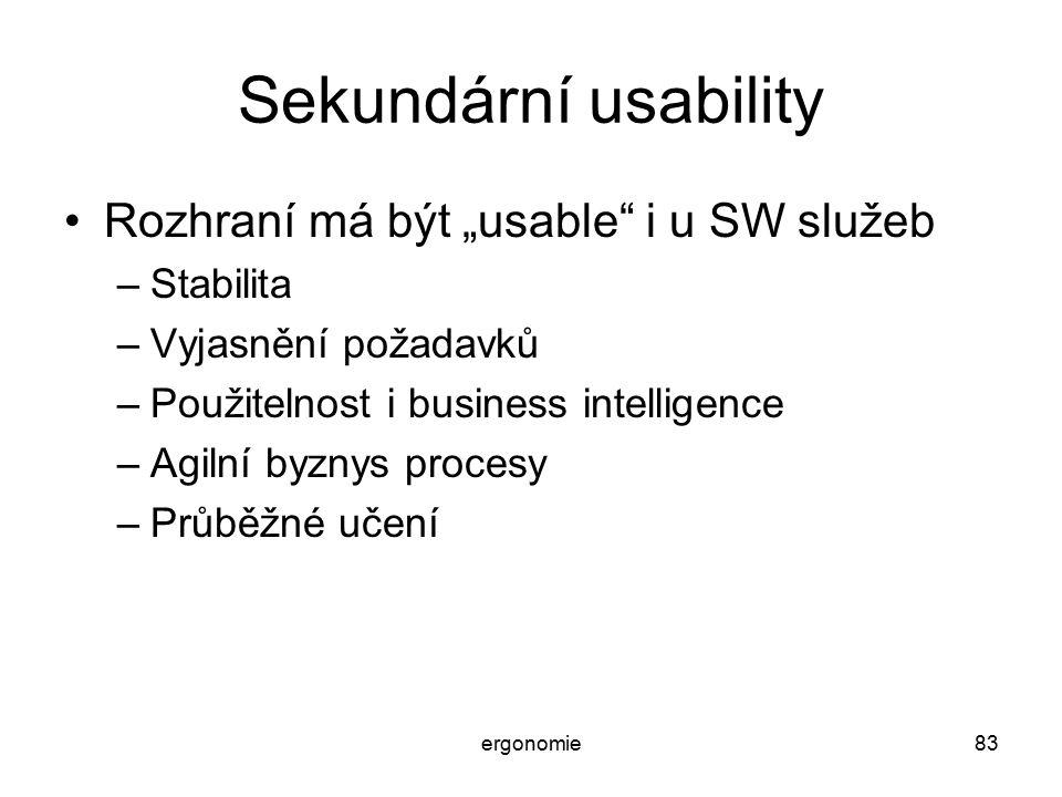 """Sekundární usability Rozhraní má být """"usable i u SW služeb Stabilita"""