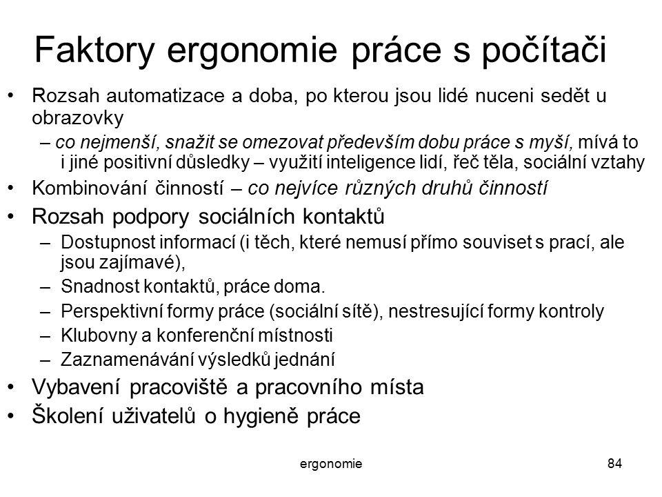 Faktory ergonomie práce s počítači