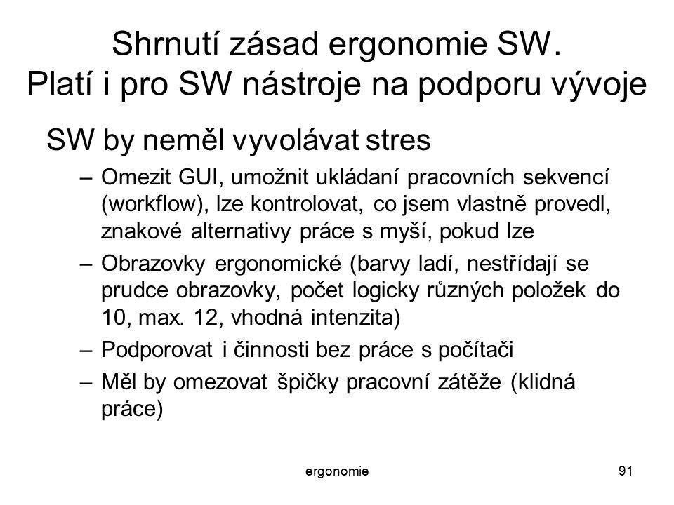 Shrnutí zásad ergonomie SW. Platí i pro SW nástroje na podporu vývoje