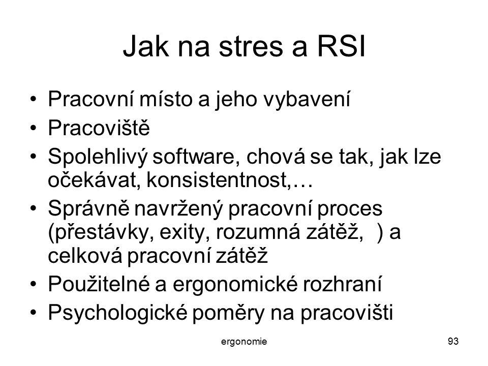 Jak na stres a RSI Pracovní místo a jeho vybavení Pracoviště