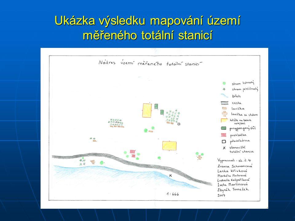 Ukázka výsledku mapování území měřeného totální stanicí