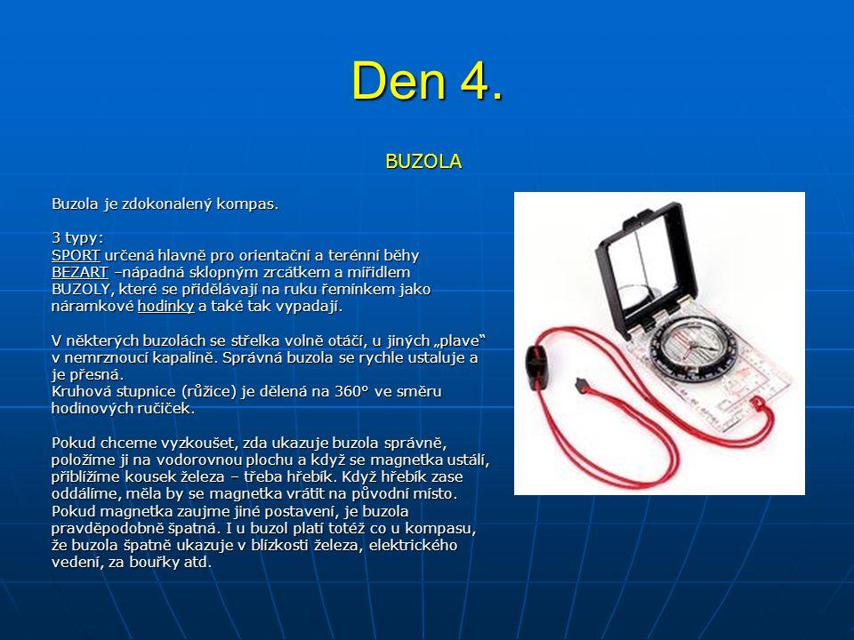 Den 4. BUZOLA Buzola je zdokonalený kompas. 3 typy: